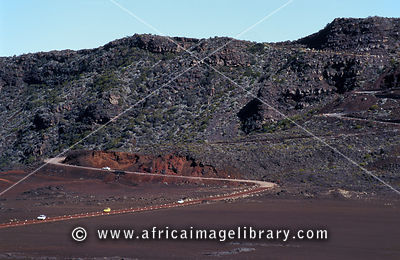 road crossing Plaine des Sables, Piton de la Fournaise, Reunion
