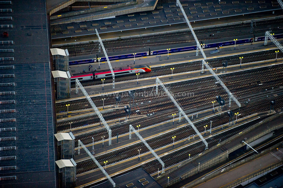 Aerial view of train at station, London