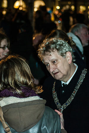Amsterdam, Netherlands 2015-01-08: Eberhard van der Laan, Mayor of Amsterdam at the demonstration for Freedom of Speech.