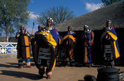 Ndebele women dancing, Botshabelo Ndebele village, South Africa