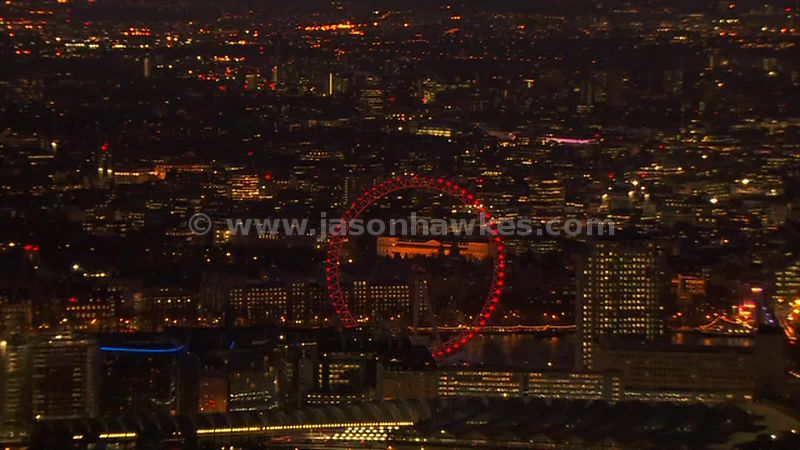 Aerial footage of the London Eye at night, London