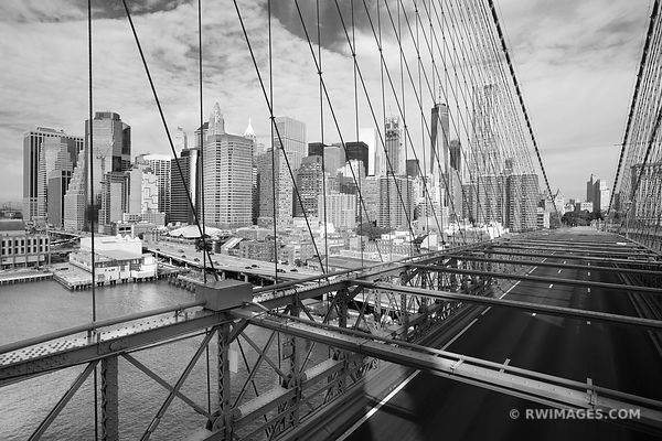 MANHATTAN SKYLINE FROM BROOKLYN BRIDGE NEW YORK CITY NEW YORK BLACK AND WHITE