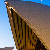 Detail shot of Sydney Opera House at dusk with moon, Sydney, New South Wales, Australia