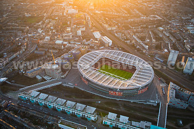 Aerial view of the Emirates Stadium at dusk, Highbury, London
