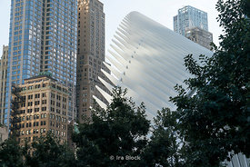 A scene of The Oculus in Lower Manhattan in New York City.