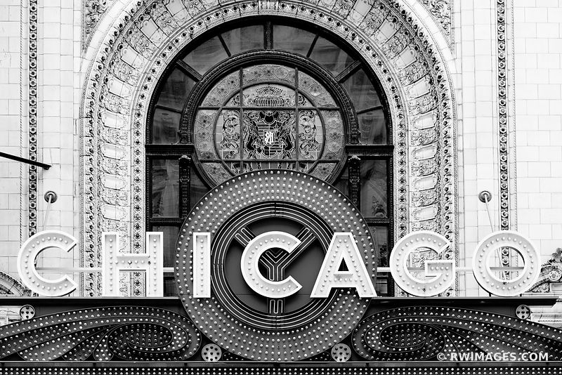 CHICAGO THEATRE NEON SIGN CHICAGO ILLINOIS BLACK AND WHITE