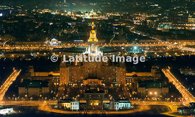 Moscow, Russia. Moscow State University building on Vorobiyovy Gory  (Sparrow Hills).
