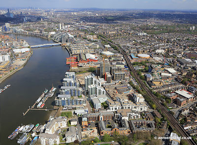 aerial photograph of the Wandsworth Riverside and the  Osiers development  in Wandsworth London UK showing Point Pleasant, London SW18 1NN, Osiers Rd, London SW18 1NH, Riverside Quarter, Eastfields Ave, Wandsworth, Greater London SW18 1LP and Northfields, London SW18 1DD