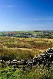 Countryside near Porth in the Rhondda Valley from Mynydd y Glyn near Pontypridd, South Wales.