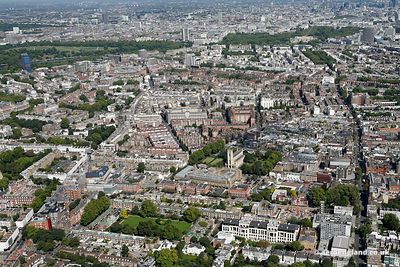 aerial photograph of Chelsea London England UK  with King's Road London SW3 5ED running up the right of the image. Also in the image are Sydney St London SW3 6NJ, Dovehouse St  SW3 6LA, Manresa Rd n SW3 6LR , Chelsea Common ,Cale St SW3 3QU  and Old Church St, London SW3 6EA