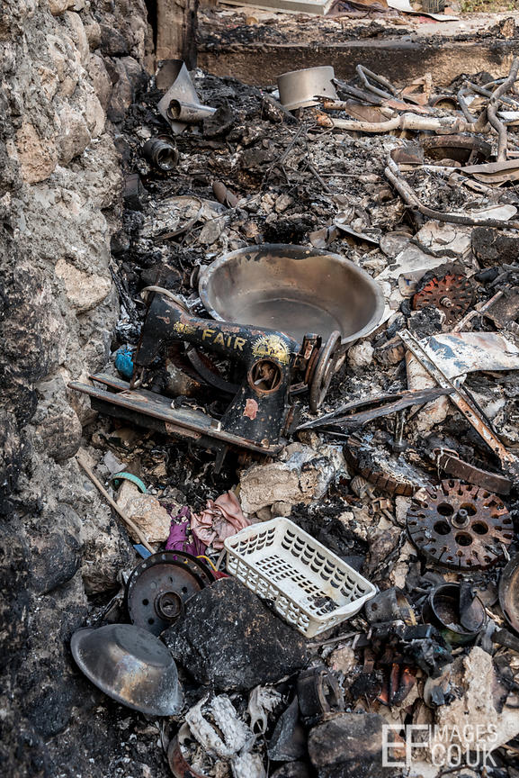 This is what happens to personal belongings when an airstrike hits. Sinjar City, Iraq, May 2017
