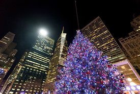 The Christmas tree at Bryant Park Winter village in Manhattan, New York City