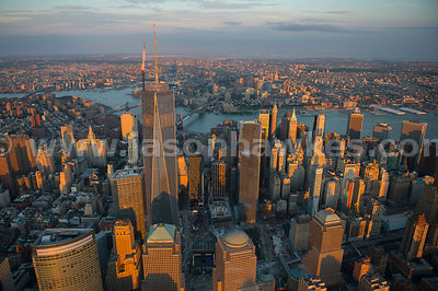 Aerial view of the skyscrapers in Lower Manhattan, including One World Trade Center, the tallest building in the Western Hemisphere