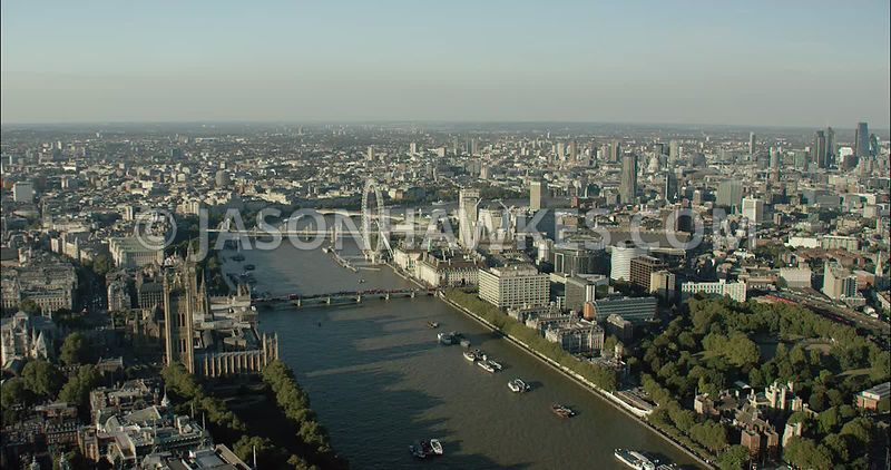 London Aerial Footage of Westminster with House of Parliament