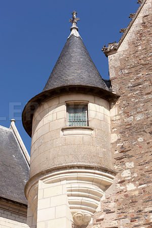 Photo d un detail d une tour du chateau d angers