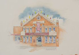 Barter Theatre, original watercolor illustration, 17 x 21
