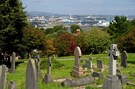 View of Cardiff Bay from the Graveyard of Saint Augustine's Church, Penarth, South Wales, UK.