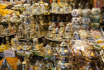 Silver tea and coffee sets in the spice market, Istanbul