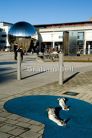 Millennium square and two sculptured dogs named Bill and Bob, Bristol, England.