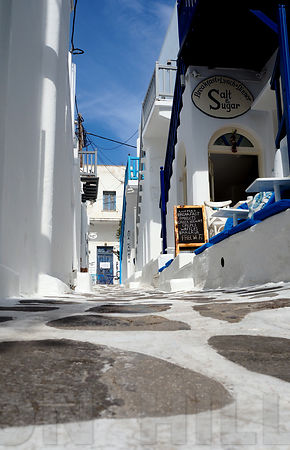 The backstreets of Mykonos.