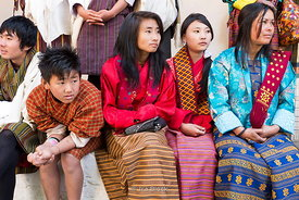 Local people at the festival in Punakha Dzong, Bhutan.