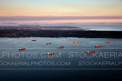 Ships in English Bay