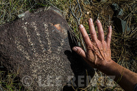 Rock Art of Human Hand at Three Rivers Petroglyph Site