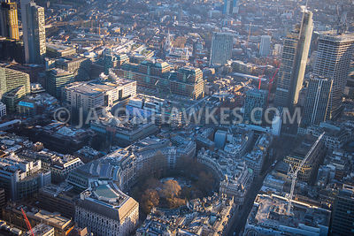 Aerial view of London, Bishopsgate with Hernon Tower and Liverpool Street from Finsbury Circus.