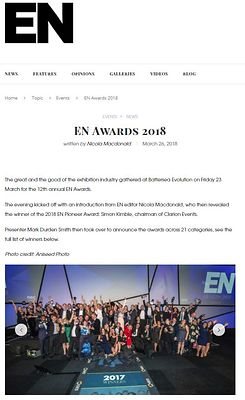 Exhibition News website gallery - Exhibition News Awards  - March 2018