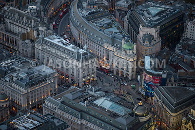 Aerial view of London, Piccadilly Circus and Regents Street in the evening.