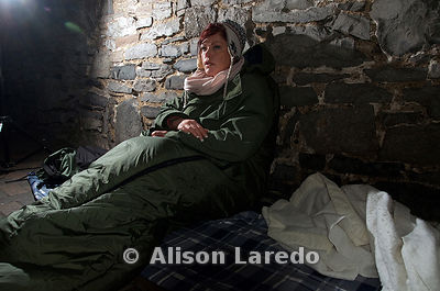 Angela Meehan the organiser at 7.30am on Sunday morning - Mayo's Sleep Out for the Homeless. Photo Alison Laredo