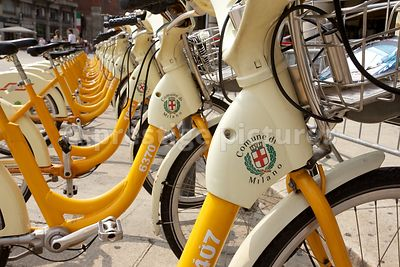 Line of Hire Bicycles in Milan
