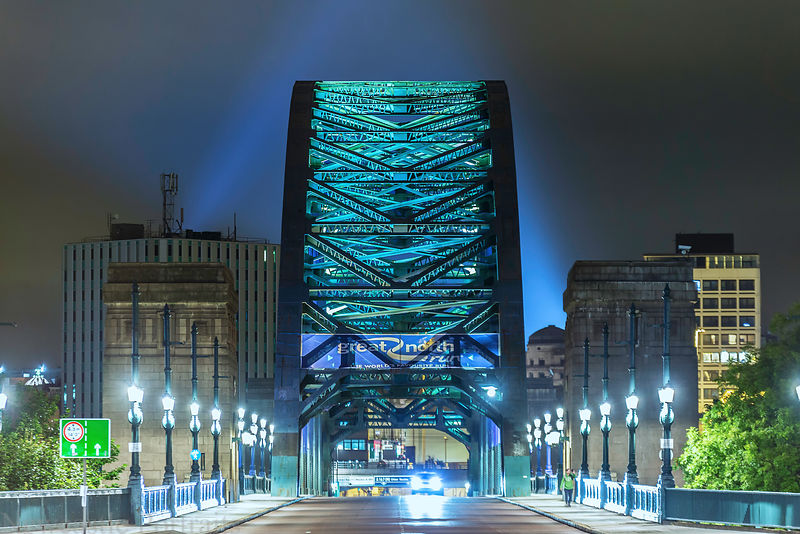 Lights behind the Tyne Bridge