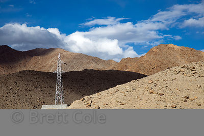 Power lines along the NH-1 highway in the Himalayas near Nimmu, Ladakh, India