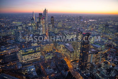Dusk aerial view of City of London