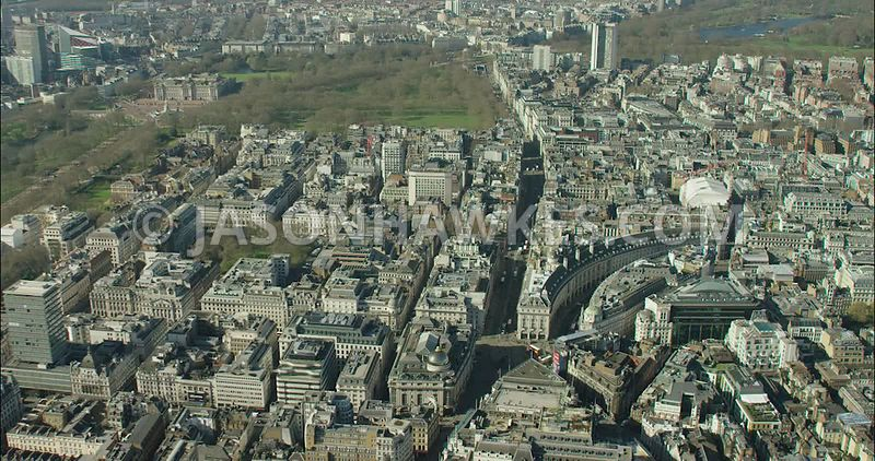 London Aerial Footage of Piccadilly and