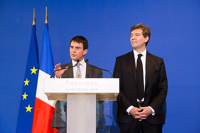 French PM Manuel VALLS and economy minister Arnaud MONTEBOURG visit Staubli factory in Faverges - Savoie - France