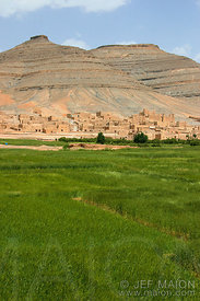 Between fields and mountain, the High Atlas village of Agoudal