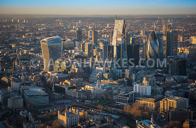 Aerial view of London, 30 St Mary's Axe with Leadenhall Building.