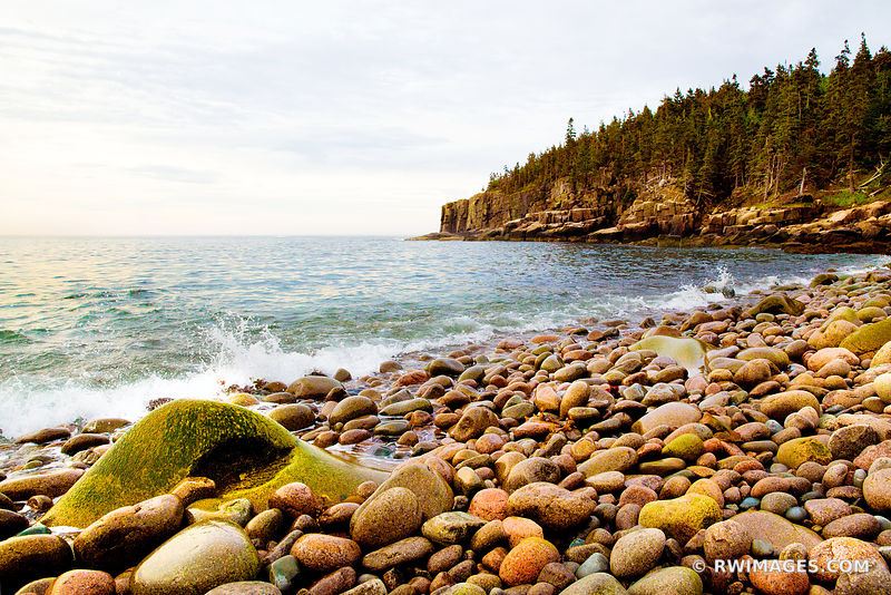ROUND BOULDERS AT THE ROCKY BEACH OTTER COVE ACADIA NATIONAL PARK MAINE NEW ENGLAND COAST LANDSCAPE