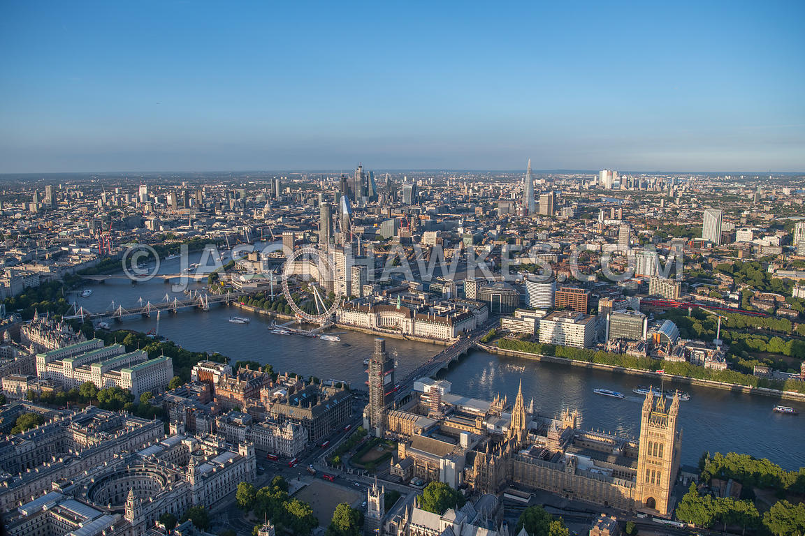 London, aerial view of the Houses of Parliament