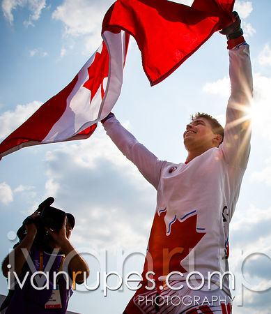 Tory Nyhaug won the gold at the men's BMX, Toronto 2015 Pan Am Games, Centennial Park Pan Am BMX Centre, Etobicoke; July 10, 2015