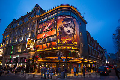 Les Miserables playing at the QueensTheatre in London's Shaftesbury Avenue