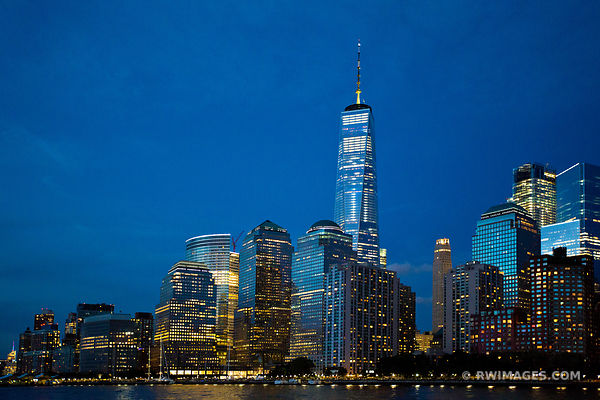 MANHATTAN SKYLINE NIGHT CITY LIGHTS FREEDOM TOWER NEW YORK CITY NEW YORK COLOR