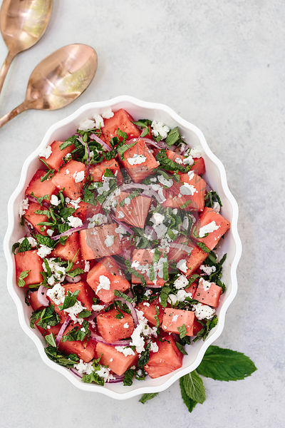 Minty Watermelon Feta Salad
