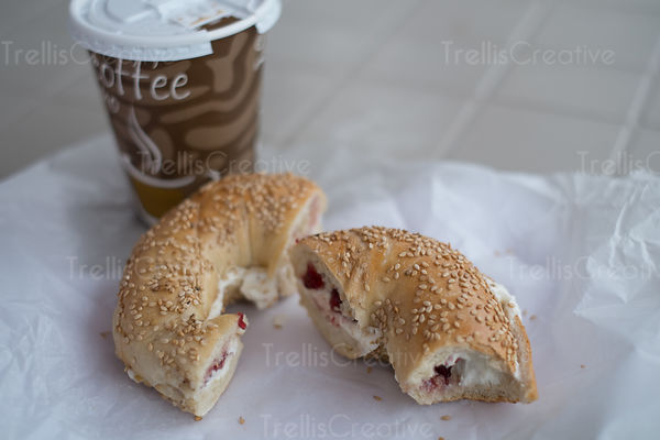 Disposable coffee cup with sesame bagel