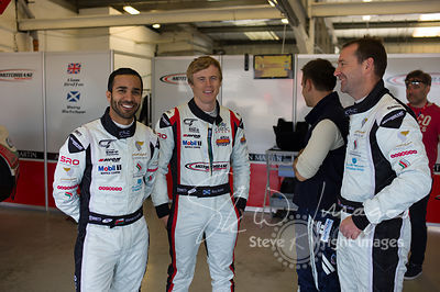 Race winners Ahmad Al Harthy and Michael Caine, in the pit lane pre-race with Rory Butcher and the Oman Racing Team, at the Silverstone 500 - the third round of the British GT Championship 2014 - 1st June 2014