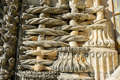 Detail of the magnificent stonework of the Convent of Christ, a UNESCO World Heritage Site. Tomar, Portugal