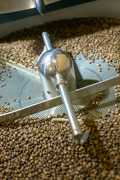 Coffee beans roasting at Blue Tokai Coffee shop in Champa Gali