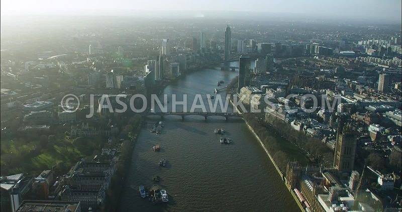 London Aerial footage, Lambeth with Archbishop Park and Lambeth Palace.